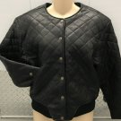 Ladies LEATHER JACKET Quilted Bomber SMALL Black Lined