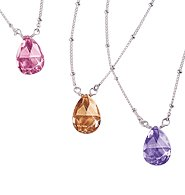 Teardrop Necklace in Best Wishes Signature Box ~ Lavender (Peace) ~ NIB
