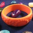 Avon Carved Floral Bangle Bracelet Orange Costume Jewelry VHTF