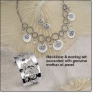 Avon Silvertone Mother of Pearl Link Necklace Gift Set ~ Necklace & Pierced Earrings ~ Mother's Day
