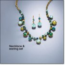 Avon Teal Rhinestone Collar Necklace & Earring Set ~ Antique Goldtone Costume Jewelry Christmas HTF