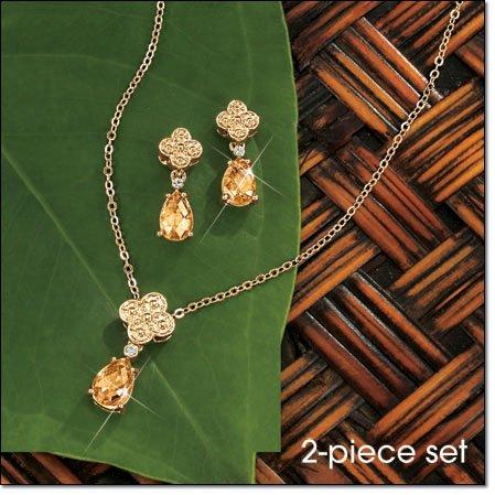 Avon Teardrop Tear Drop Necklace Gift Set ~ Topaz Goldtone Costume Jewelry