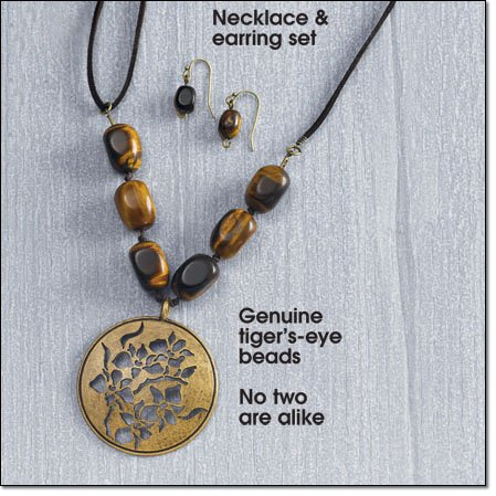 Avon Goldtone Medallion And Genuine Tiger's Eye Necklace Gift Set ~ Goldtone Costume Jewelry
