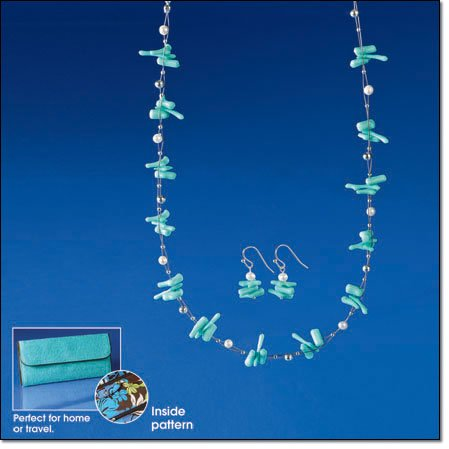 Avon Freshwater Pearl & Turquoise Colored Necklace & Earring Gift Set ~ Silvertone Costume Jewelry