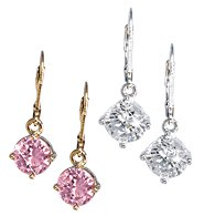 Avon Solitaire CZ Drop Earrings in Box ~ Pink Cubic - Goldtone ~ CZs Costume  Jewelry Christmas