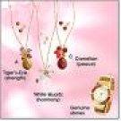 Avon Semiprecious Teardrop Cluster Necklace Earring Gift Set Carnelian Goldtone Jewelry Costume