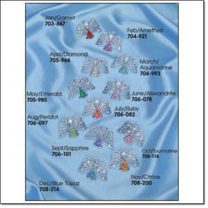 Avon Heavenly Angel Birthstone Tac Pin DECEMBER Blue Topaz Brooch loc15