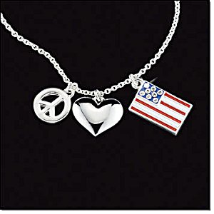 Avon Patriotic Necklace Heart Peace Sign Flag Silvertone New In Gift Box