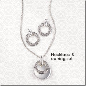 Avon Florence Gift Set Silvertone Necklace and Earrings