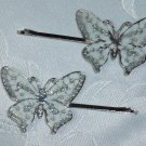 Enameled White hair jewelry bobbi (bobby) pins~ PAIR