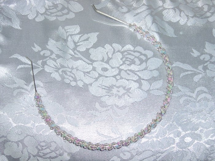 Silver tone metal~Multi color beaded hair band headband hair jewerly