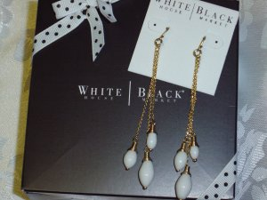 White House Black Market Store~White Coral Drop Chandelier Earrings~ NEW