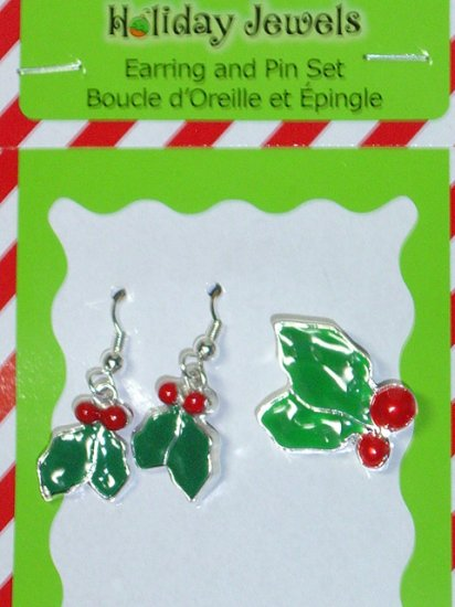 Christmas pin  brooch and earrings matching set~Holly~2 sided earrings