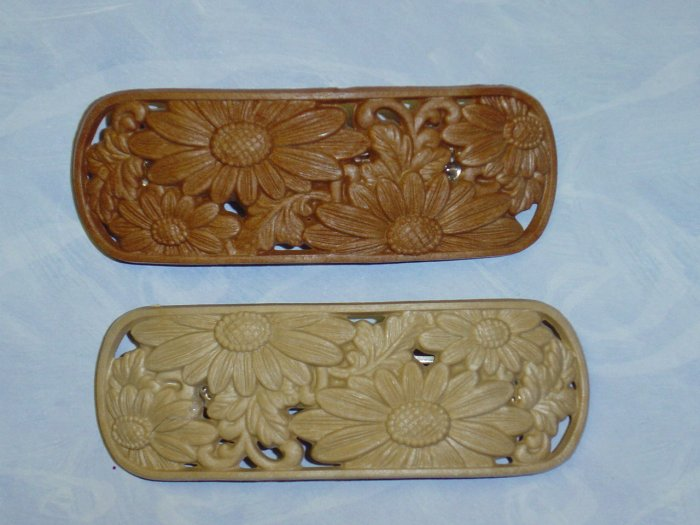 TWO~ LARGE CARVED LOOK BARRETTES~ SUNFLOWER DESIGN HAIR JEWELRY BARRETTES