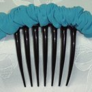 Turquoise chiffon fabric scrunched french twist updo hair comb fascinator