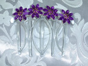 Purple floral rhinetsones hand made french twist updo fascinator comb by kittenkat22