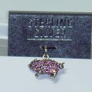 Pink Cubic Zirconium Crystal Sterling silver Pig charm for your bracelet