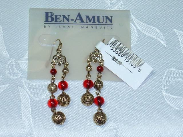 HOUSE OF BEN AMUN~DESIGNER ISAAC MANEVITZ~SAKS FIFTH AVE.~GOLD PLATED CHANDELIER EARRINGS