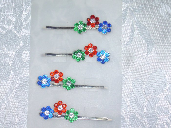 Set of four multicolor floral Hair Jewelry Bobbi Pin fascinator