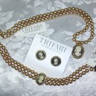 TRIFARI PEARLESSENCE EARRINGS, NECKLACE, BRACELET SET~THREE PIECE FAUX CAMEO AND FAUX PEARL SET