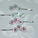 RED AND GREEN (& CLEAR) RHINESTONE HAIR JEWELRY PINS (BOBBI) BOBBY PINS~SET OF FOUR