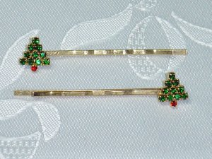 PAIR SWAROVSKI CRYSTAL elements CHRISTMAS TREE HAIR JEWELRY PINS~BOBBI PINS PAIR