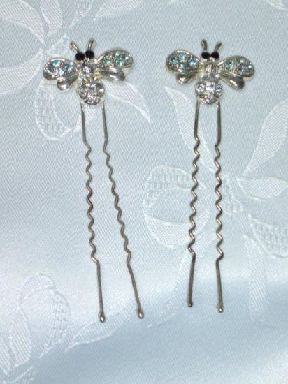 Pair Bumble Bee hair fork stick hair fascinatosr with rhinestones long hair forks