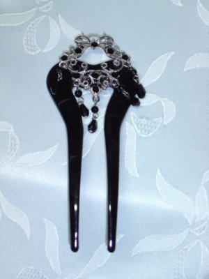 Hair fork pin fascinator comb in black with black rhinestones and dangling charms