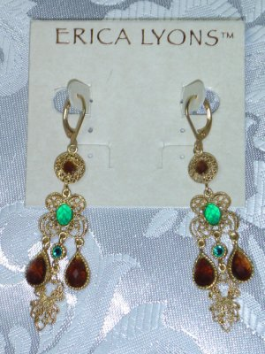 ERIC LYONS TRUNK SHOW TURQUOISE AND AMBER CRYSTALS CANDELIER EARRINGS