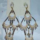 ERICA LYONS TRUNK SHOW EQYPTIAN DESIGN LONG CHANDELIER EARRINGS (GLASS SEED BEADS)