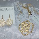 WHITE HOUSE BLACK MARKET STORE SWAROVSKI CRYSTAL GOLD TONE METAL ROSE NECKLACE AND MATCHING EARRINGS