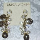 ERICA LYONS FAUX ROMAN COINS~GODDESS CHANDELIER EARRINGS NEW~TRUNK SHOW ITEM