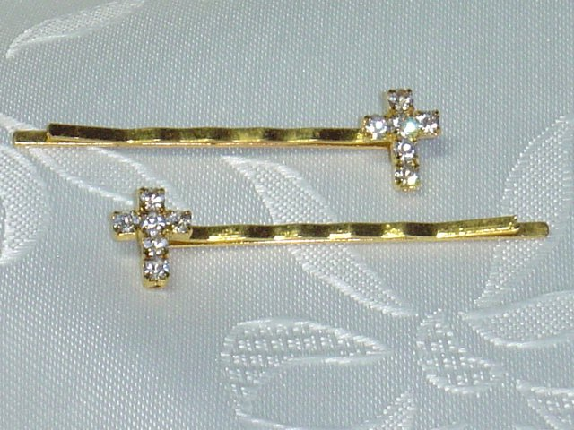 PAIR~SWAROVSKI CRYSTAL elements CROSS HAIR PIN JEWELRY bobbi pins hair pins pair