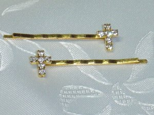 PAIR~SWAROVSKI CRYSTAL elements CROSS HAIR PIN JEWELRY bobbi pins hair pins pair