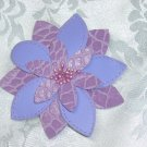 PURPLE LEATHERETTE FLOWER HAIR JEWELRY BARRETTE~NEW