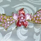 PINK RHINESTONE HAND PAINTED FLORAL BOW BARRETTE HAIR JEWELRY