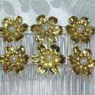 GOLD TONE FLOWERS  FAUX PEARLS HAIR JEWELRY SIDE COMBS PAIR