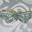 BLUE RHINESTONE BUTTERFLY  HAIR JEWELRY BARRETTE