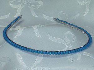 Turquoise color wood hand beaded hair band head band