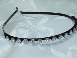 AB color changing diva rhinestone headband hair band with black band