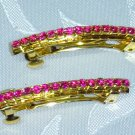 PRETTY PINK SWAROVSKI CRYSTAL MINI FRENCH CLIP BARRETTE PAIR
