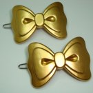 PRETTY BOWS GOLD TONE ACRYLIC CLIP BARRETTE PAIR