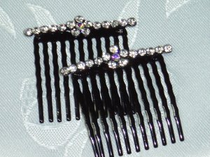 Sparkling Clear AB Austrian Crystal side metal hair comb fascinator pair wedding and proms
