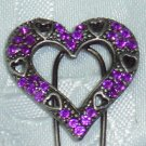 Purple Rhinestones Heart shape hair fork pink stick fascinator NEW