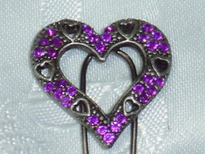 Purple Rhinestones Heart shape hair fork pink stick fascinator NEW