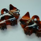 Pair Swarovski crystal elements matching scottie dog hair claw clips with gold tone setting