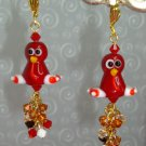 22K GP ARTISAN LAMPWORK SWAROVSKI EARRINGS TURKEY