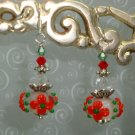ARTISAN LAMPWORK SWAROVSKI EARRINGS SS  RED FLORAL NEW