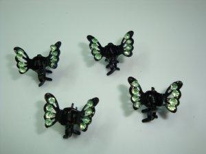 set of four Green Rhinestone mini butterfly hair clip claw fascinators