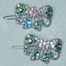 PAIR~AUSTRIAN CRYSTAL TEAL ENAMELED BOW SHAPED CLIP STYLE BARRETTES